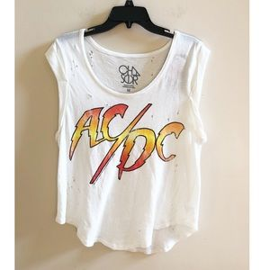 Chaser AC/DC Distressed Graphic Band Tee